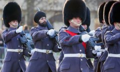 Scots Guardsman Jatenderpal Singh Bhullar parades at Buckingham Palace for the first time
